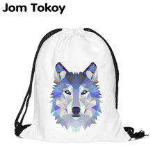 Polygon wolf 3D Printing Fashion Women Party Bolsa Feminina Drawstring Bag Travel Backpack Mochila Man's Bags(China)