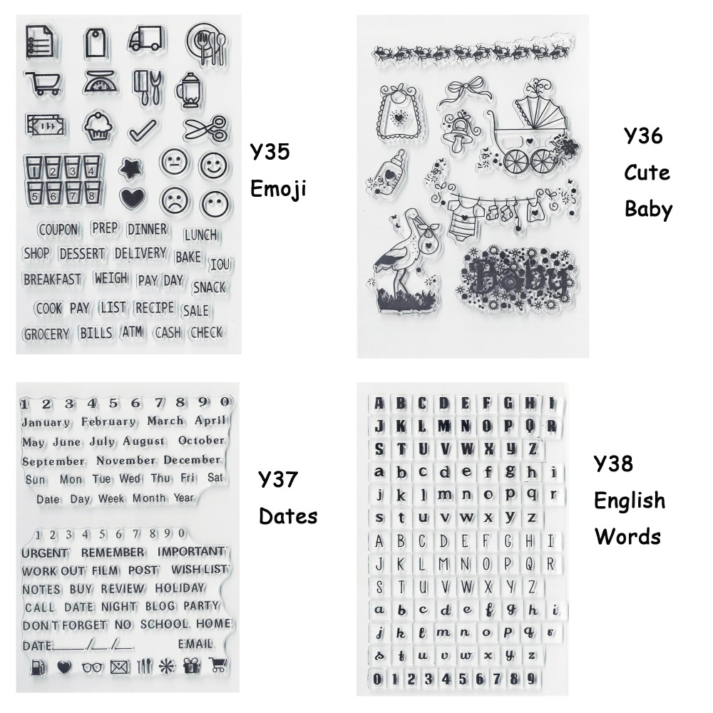 Y37 Date Alphabet Clear Stamps,Silicone Clear Rubber Stamp Sheet Cling for DIY scrapbooking Craft Card