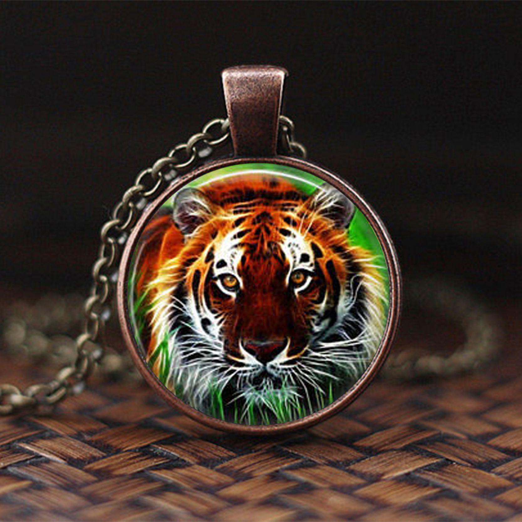2019 New Fashion Rhinoceros Pendant Necklace Wild Animal Jewelry Tiger Photo Glass Caboc ...