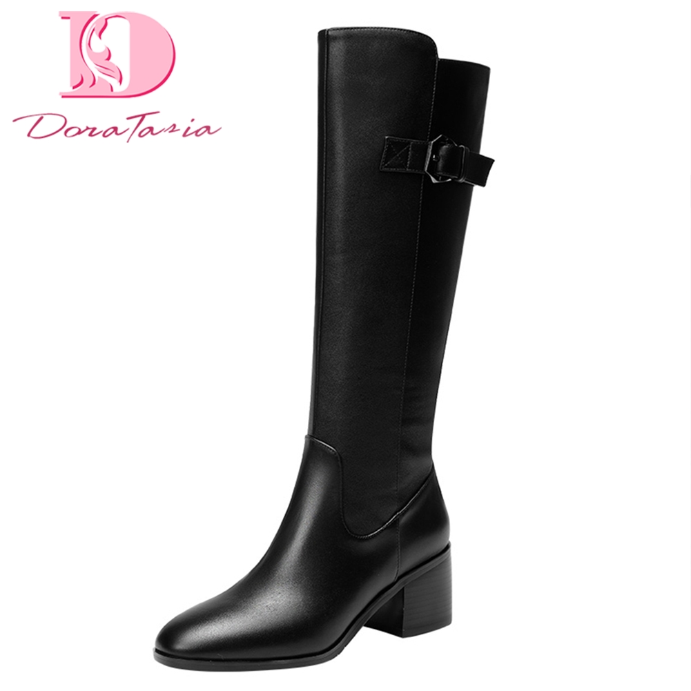 DoraTasia Brand new Genuine Leather Knee High Boots Woman Shoes Square Heels Zip Up Woman Boots Shoes Women riding boots