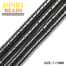 JHNBY Gear Black Hematite beads 7/5MM Natural Stone magnetite geometric Loose For Jewelry bracelet Making DIY Accessories