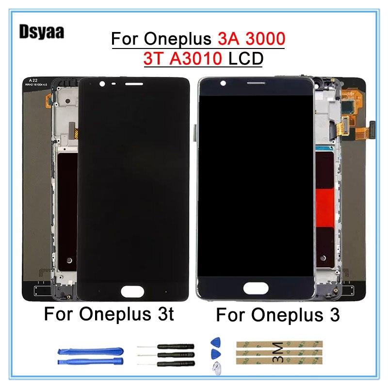 100% Testé Affichage Pour Oneplus 3 t 3 A3010 A3000 LCD Écran Tactile Digitizer Pièces De Rechange avec des outils libres Aucun mort Pixcel