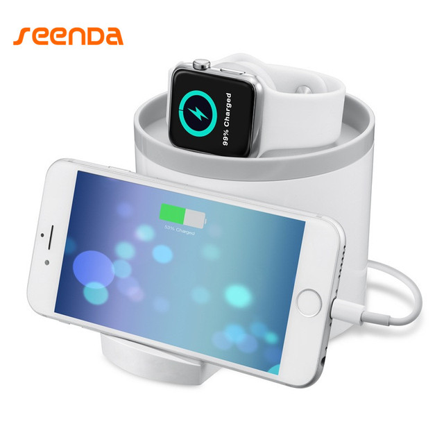 Seenda Hot Sale New Holder For Mobile Phone Stand For Apple Watch Dock Cradle Charging Station Holder For iphone X 8  Samsung S8