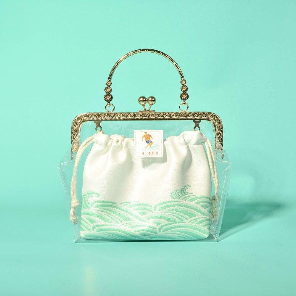 Filles sac en métal cadre sacs à main Transparent clair Bolsa Feminina sac fourre-tout féminin pour dames chaînes sacs à main femmes Obag clair
