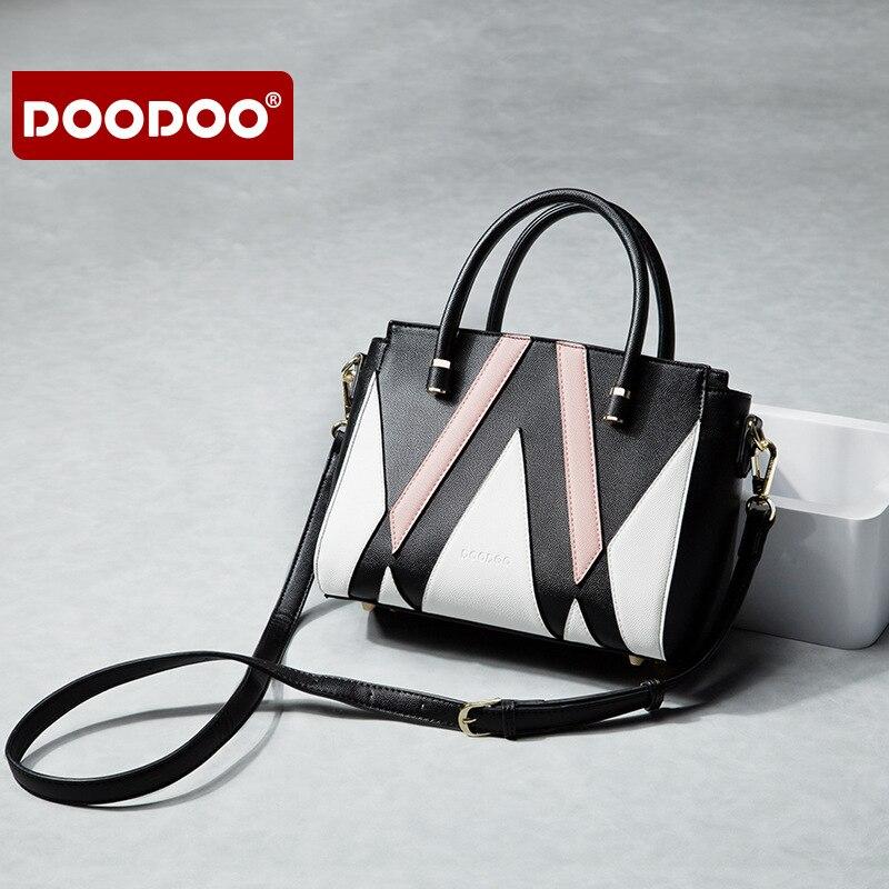 DOODOO New Fashion Joker Lady Handbags Luxury PU Leather Geometry Korean Women Single Shoulder Bag Female Crossbody Large Bag