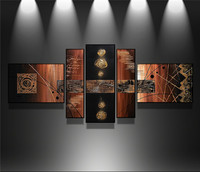 Handpainted Wall Art Modern Abstract Red Flower Pictures For Living Room Home Decor 5 Piece Oil
