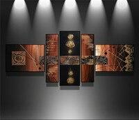 100% Mão-pintado Moderno Da Parede Da Arte Abstrata Handmade Pintura A Óleo Na Parede Da Lona Retrato Da Arte 5 pçs/set Sala de Jantar decoração