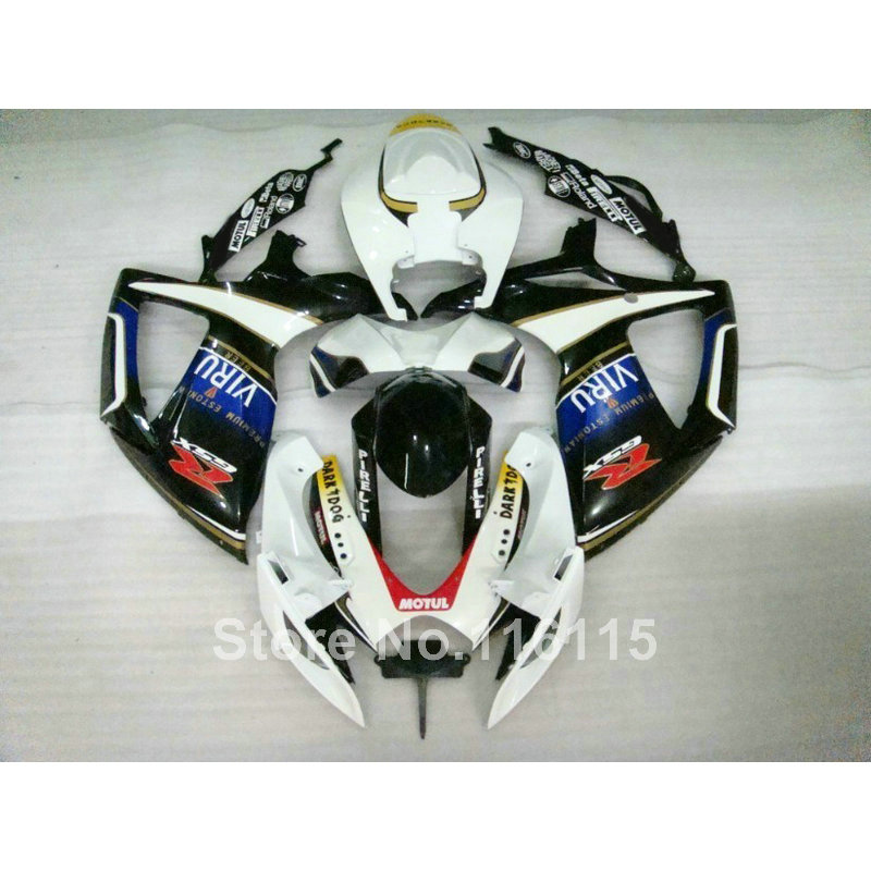 Injection mold  fairing kit for SUZUKI GSXR 600 750 K6 K7 2006 2007 GSXR600 GSXR750 06 07 white black fairings set A469 new hot moto parts fairing kit for honda cbr1000rr 06 07 green injection mold fairings set cbr1000rr 2006 2007 ra17