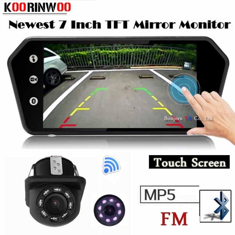 цена на Koorinwoo Multi-Media Car Rearview Monitor Touch Screen player Video System TF USB Bluetooth MP5 FM Car reverse Camera Parking