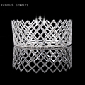 zerongE jewelry Free Shipping Wholesale Pageant Prom Accessories Full Circle Tiara silver rhinestone Queen crown for event party