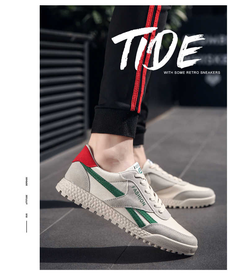 New Fashion Casual Flat Vulcanize Shoes For Men Breathable Lace-up Shoes Footwear Striped Shoes Flax And Cattle Cross Stitching 19