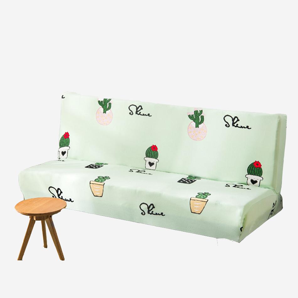 Green Universal Cactus Pattern Sofa Bed Covers For Living Room Elastic Armless Couch Slipcovers