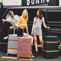 Rolling Luggage Retro Spinner Suitcase Wheels vintage Aluminum Frame Trolley Women Travel Bag 20 inch Men Carry On box Trunk