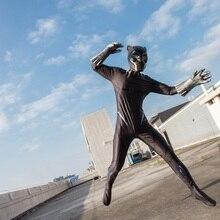 2018 Movie Avengers: Infinity War Jumpsuit and Helmet Gloves Black Panther Costume Cosplay Superhero Halloween