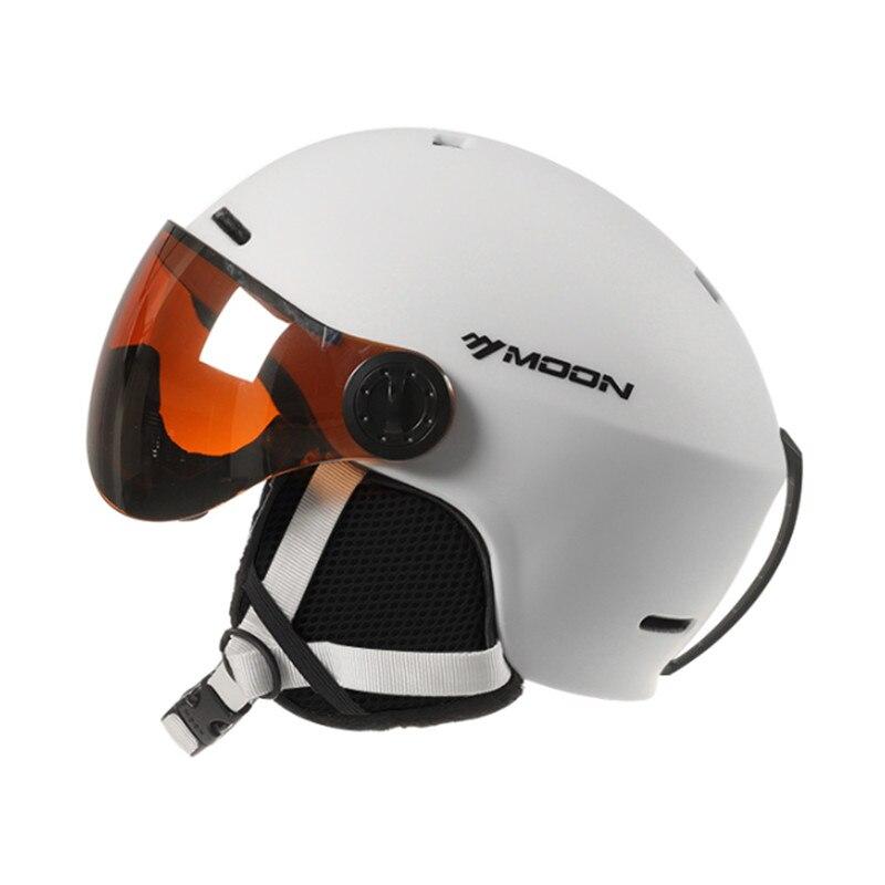 MOON casque de Ski avec lunettes nouveau EPS intégré protection complète pour les femmes et les hommes ski snowboard casque casque ski a50