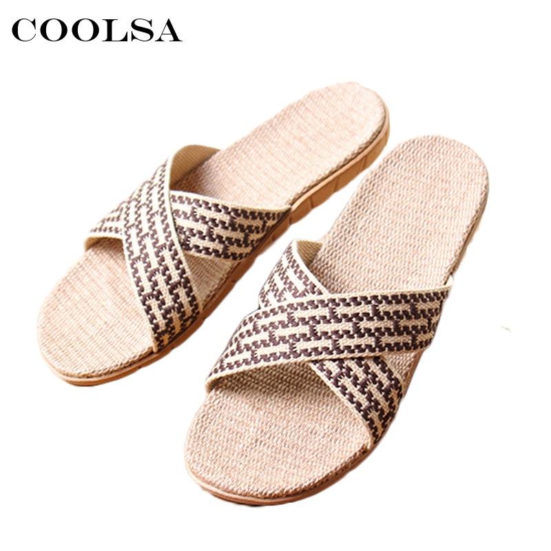 Coolsa New Summer Men Linen Slippers Cross-Tied Canvas Ribbon Flax Slides Flat Non-Slip Indoor Flip Flops Casual Beach Sandals