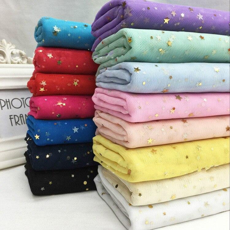 150CM 91cm/lot Gauze Star Mesh Fabric Tulle Bronzing Tissue Kids Dress Cloth Sewing Doll DIY Craft Quilt Materials