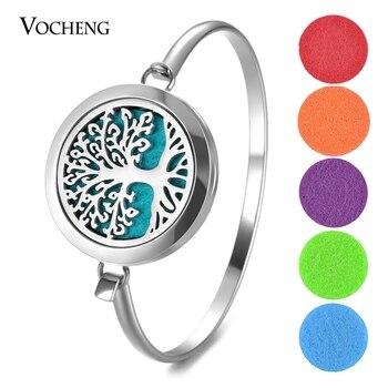 10pcs/lot Aromatherapy Oil Diffuser Bracelet 316L Stainless Steel Tree Perfume Locket Bangle 2 Styles with Felt Pads VA-804*10