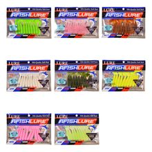 80pcs/lot Fishing Lures 65mm 3g Curly Tail Soft Bait Wobblers Fishing Lure Swimbaits Twisted Silicone Baits Pesca Leurre(China)
