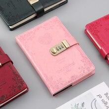 A5 şifreli kilit dizüstü 4 renkler retro altın kilit kız kalınlaşma kişisel günlüğü kitap kilidi ile ofis şifre kitap özel