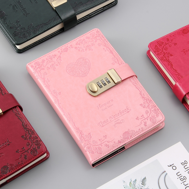 A5 password lock notebook 4 colors retro gold lock girl thickening personal diary book with lock office password book custom