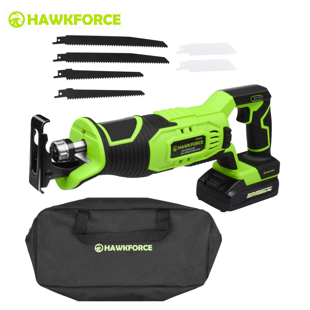 HAWKFORCE 20V Cordless Reciprocating Saw Kit 1500mAh Outdoor Electric Saw with 6 PCS Blades for Wood