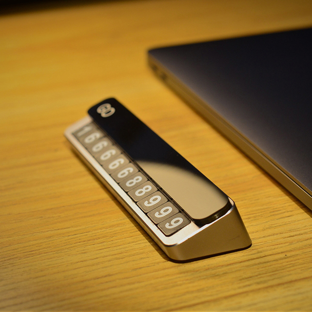 Tarjeta de Metal para estacionamiento temporal de coche, soporte de número de teléfono, placa de número de teléfono móvil, tarjeta de estacionamiento automático en las pegatinas de Diseño del coche