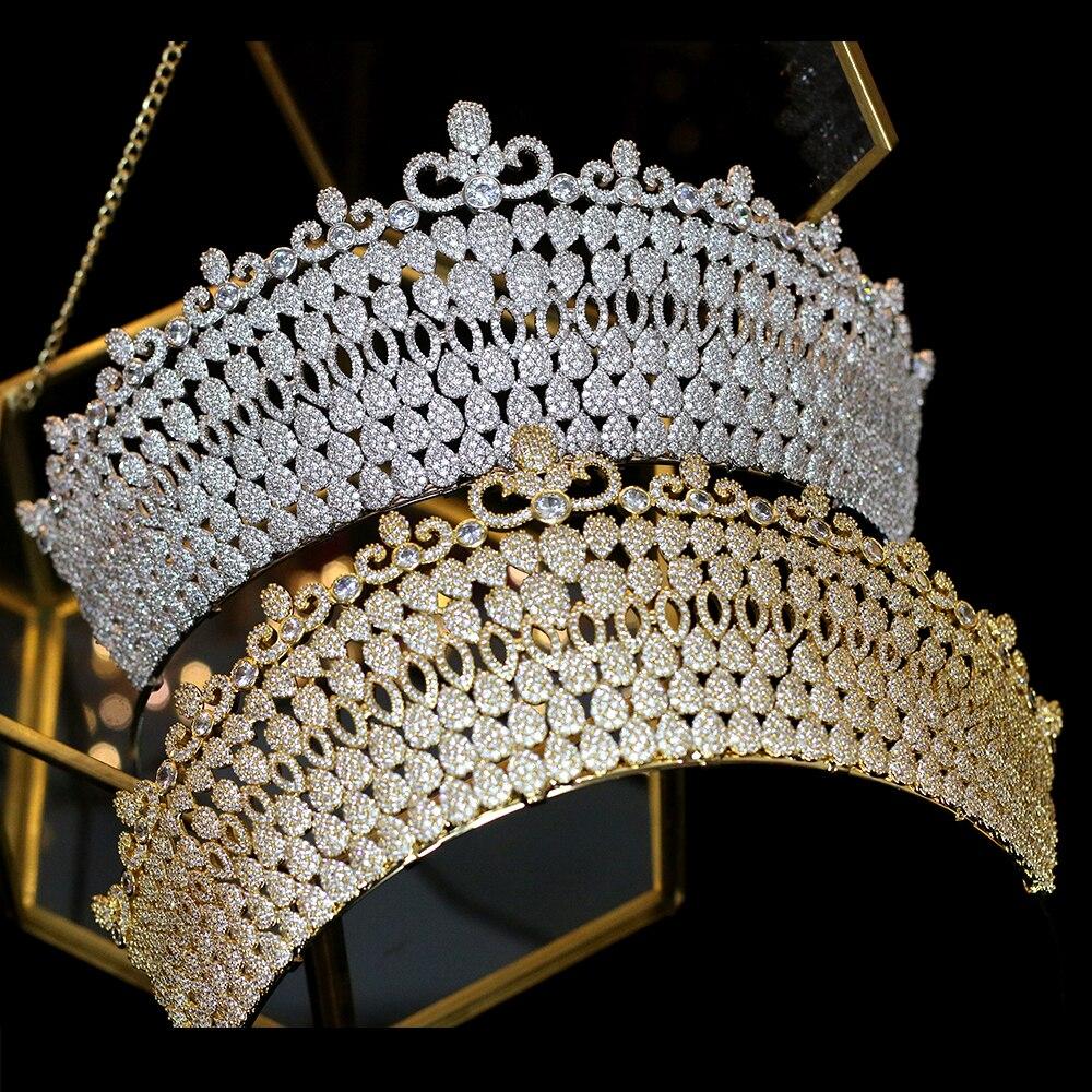 Moda Zirconia CZ Corona nupcial de lujo Retro Mujeres Accesorios de boda Corona AniversarioModa Zirconia CZ Corona nupcial de lujo Retro Mujeres Accesorios de boda Corona Aniversario