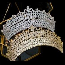 цены Moda Zirconia CZ Corona nupcial de lujo Retro Mujeres Accesorios de boda Corona Aniversario