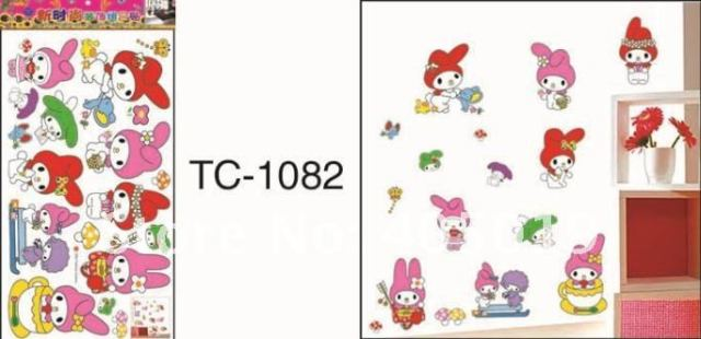 33x60cm tc1082 Mi Ffy cartoon wall fashion window cling daycare nursery room paper mixable free shipping drop ship wallart