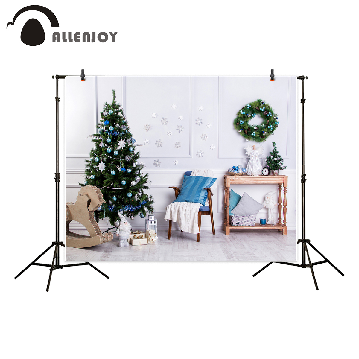 Allenjoy photography backdrop Christmas tree trojan horse snowflake wall background printed photographic computer printing kinston trojan