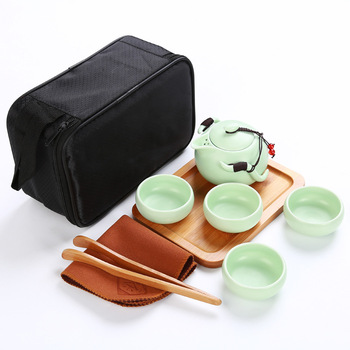 Chinese Travel Kungfu Tea Set Ceramic Portable Teapot Porcelain Gaiwan Tea Cups of Tea Ceremony Tea Pot With Travel tray Bag