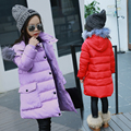 Winter Girl Down Jackets Girl Long Female Big Girl Baby Clothes 2016 New Thick Coat Outer Wear Separable Hooded Fur Collar Parka