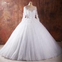 RSW1040 Vestidos De Noiva Com Foto Real Robe De Mariage Bridal Dresses 2016 Long Sleeve Ball Gown Wedding Dresses Back V Neck
