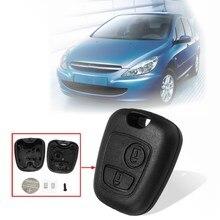 2 Botões Carro Remoto Chave Fob Caso Shell com a Substituição Da Bateria Kit Para Peugeot 106 107 206 207 306 307 405 406 407