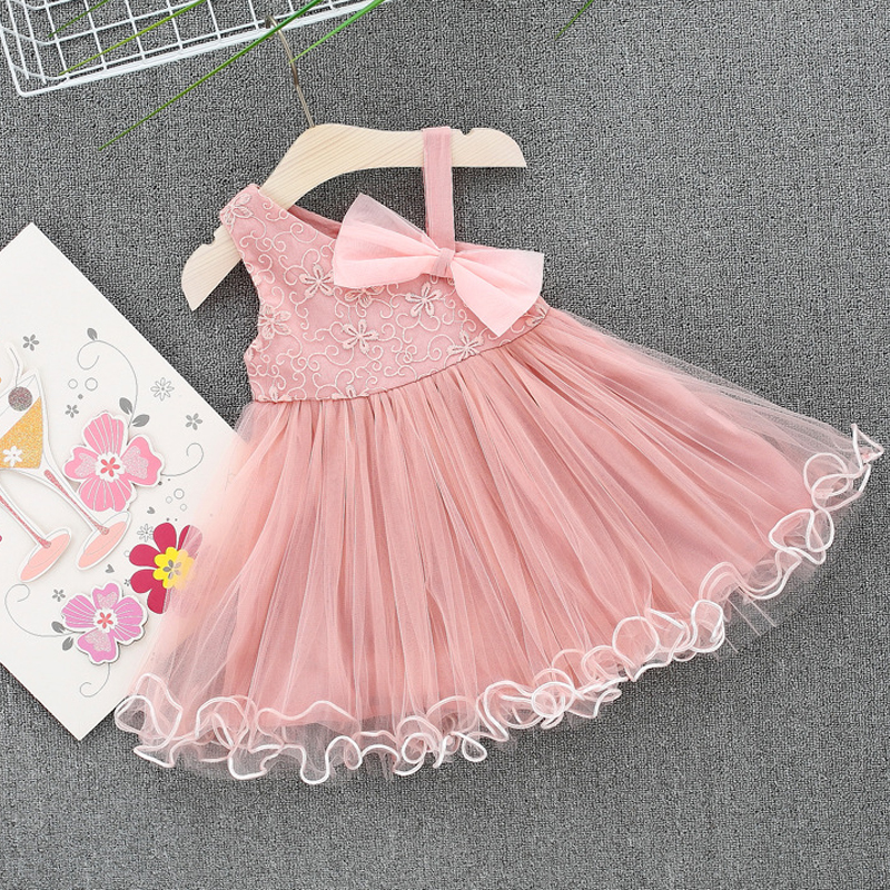 Baby Girl Dress Toddler New 2018 Girl Lace Bow Princess Dress Embroidery Flowers Prom Wedding Birthday Baby Girl Dress