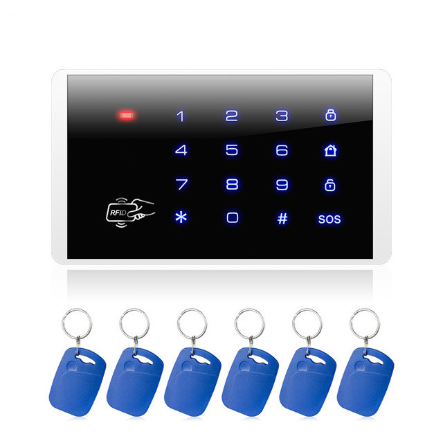 FUERS K16 RFID Card Arm And Disarm Touch Keypad For PSTN GSM Home Security Alarm System 433MHz Wireless Password Keyboard System