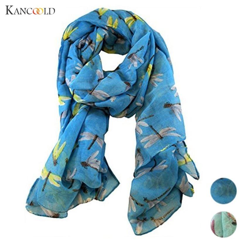 KANCOOLD women   scarf   socks Lady Womens silk   scarf   Long Cute Dragonfly Print   Scarf     Wraps   Shawl Soft   Scarves   Style APR13