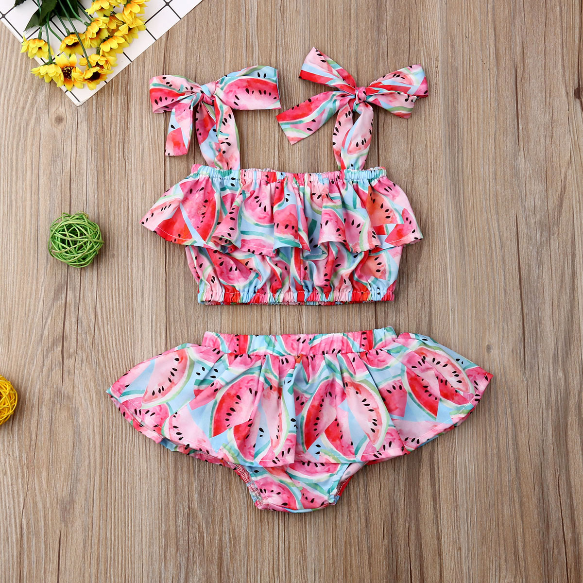 Emmababy Newest Fashion Newborn Baby Girl Clothes Watermelon Print Strap Tops Short Pants 2Pcs Outfits Summer Clothes