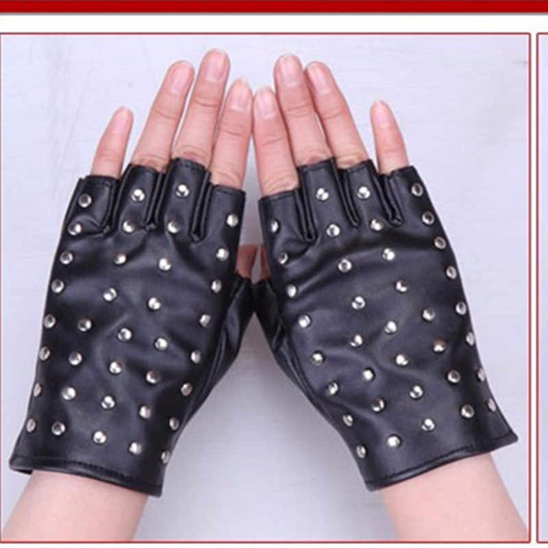 Guantes de piel de semi dedo con remache de Hip hop, para mujer y mostrar el rendimiento de los guantes de baile y guantes de espectáculo star DS guantes