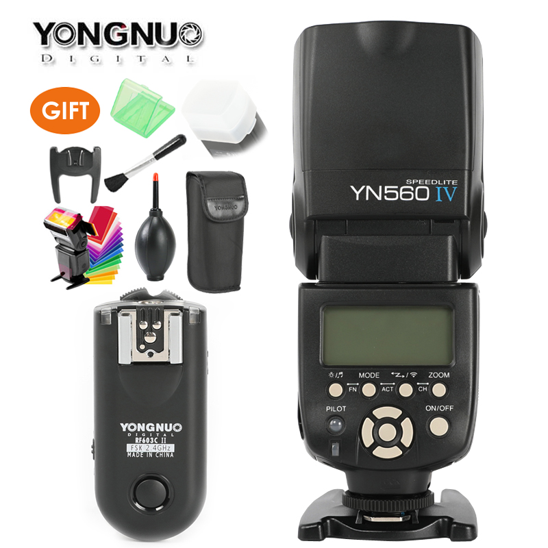 YONGNUO YN560 IV,YN-560 IV Master Radio Flash Speedlite + RF-603 II Wireless Trigger Receiver for Canon Nikon DSLR Camera yongnuo yn 560 iv master radio flash speedlite rf 603 ii wireless trigger for nikon d800 d7100 d610 canon 5div 650d camera