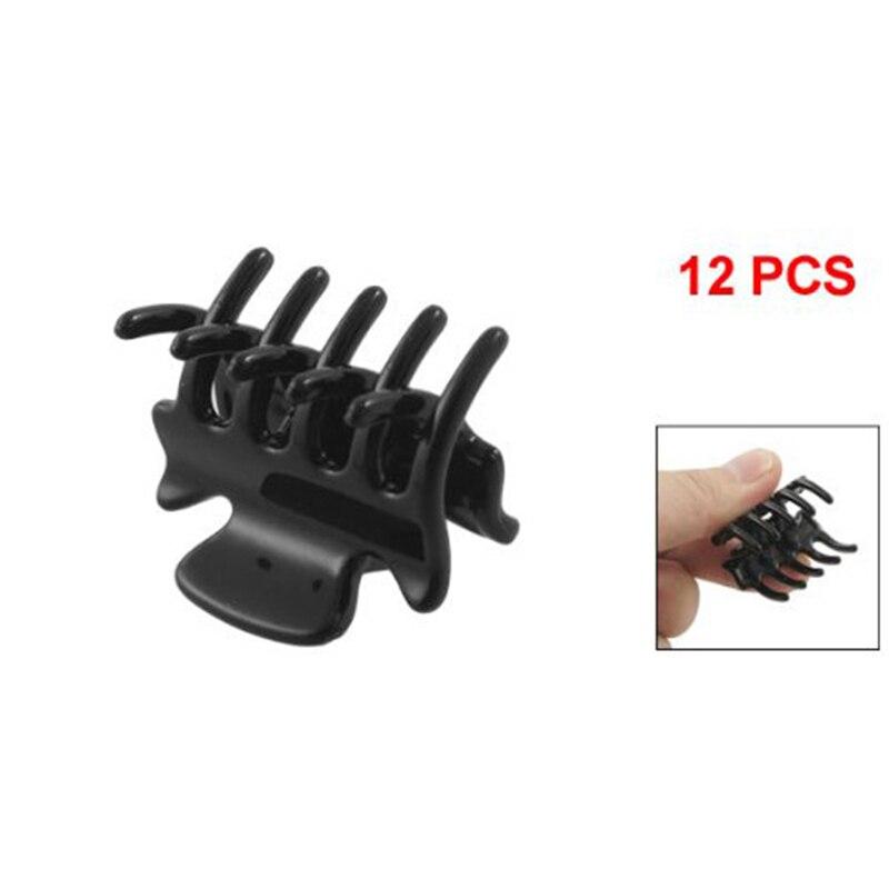12 pièces/ensemble mode femmes crabe pince à cheveux pince filles noir en plastique femelle Mini épingle à cheveux griffes pince à cheveux pince pour femmes filles cadeaux