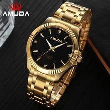 AMUDA Hombres de la Moda Del Reloj Para Hombre Reloj de Cuarzo Completa de Acero Inoxidable Reloj de Hombre Reloj de Pulsera de Oro Al Por Mayor Reloj de Los Hombres Del Reloj Del Negocio