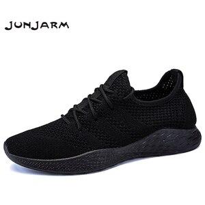 Image 1 - JUNJARM Erkekler Sneakers rahat ayakkabılar Marka erkek ayakkabısı Erkek Örgü Flats Loaferlar Nefes Erkek bağcıksız ayakkabı Bahar Sonbahar