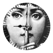 Fornasetti Wooden Clock Lina Cavalieri Wall Decorative Hanging White and Black Home Bar Hotel Adornment Bracket