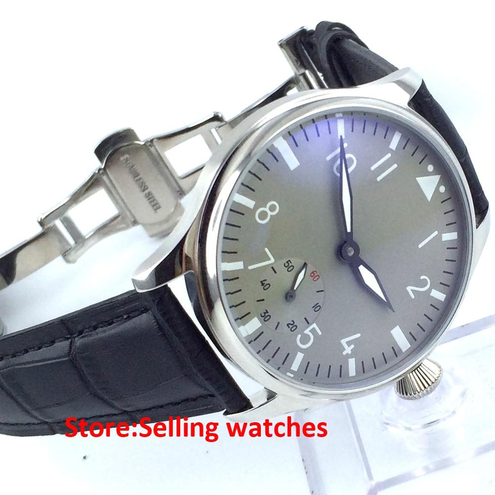 44mm classic parnis luminous seagull 6498 movement hand winding mens watch
