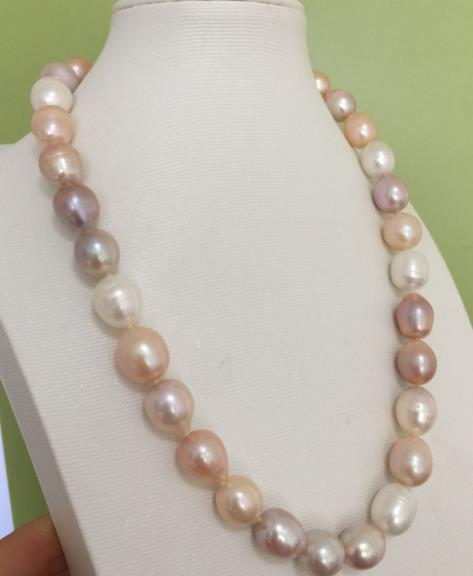 gorgeous 13-14mm south sea baroque multicolor pearl necklace 18inch 925silver цена