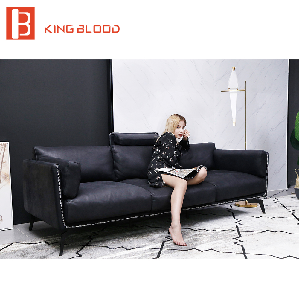 US $1332.0 |modern 3 seater black soft nubuck leather steel frame italian  leather sofas-in Living Room Sofas from Furniture on AliExpress