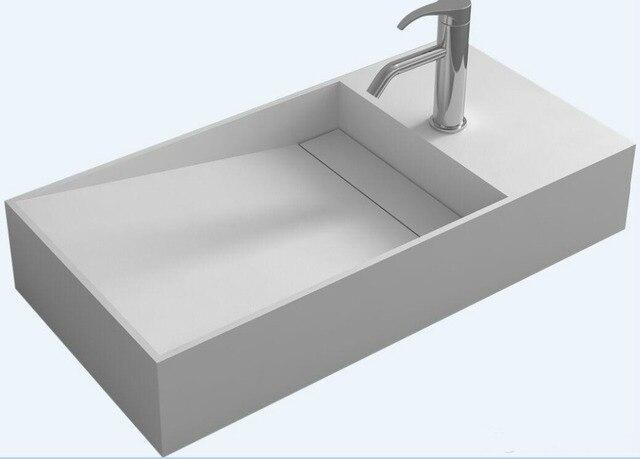 Rectangular Corain Wall Mounted Wash Sink Matt Solid Surface Stone  Muti Color Washbasin RS38227