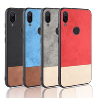 For xiaomi redmi note 7 Case Soft TPU+PU+PC Stitching contrast denim PU leather Cover For Redmi Note 7 Pro Note7 Phone Bag Cases